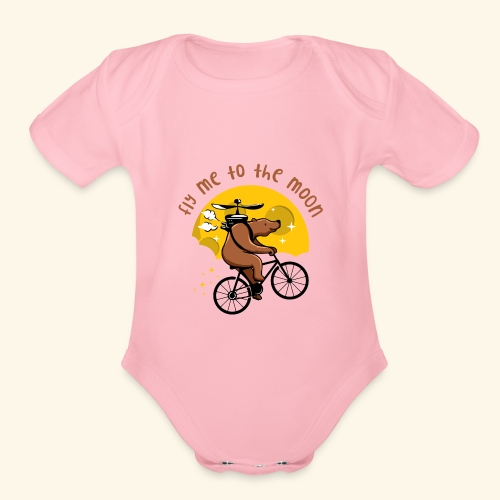 Fly me to the Moon - Organic Short Sleeve Baby Bodysuit