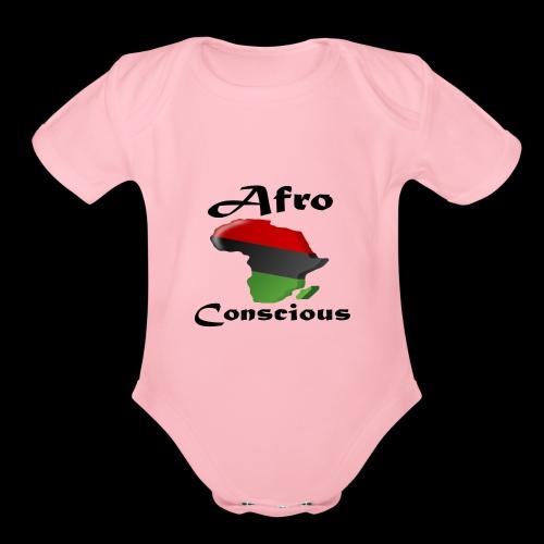 afro-conscious blk - Organic Short Sleeve Baby Bodysuit