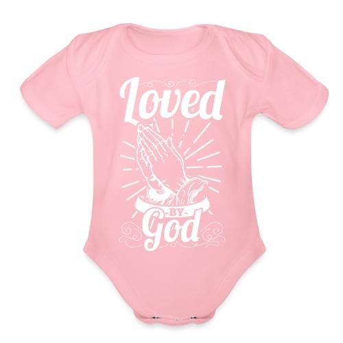 Loved By God (White Letters) - Organic Short Sleeve Baby Bodysuit