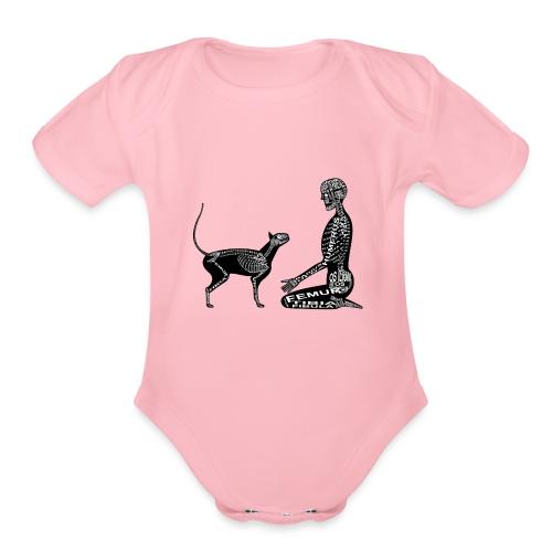 Skeleton Human and Cat - Organic Short Sleeve Baby Bodysuit