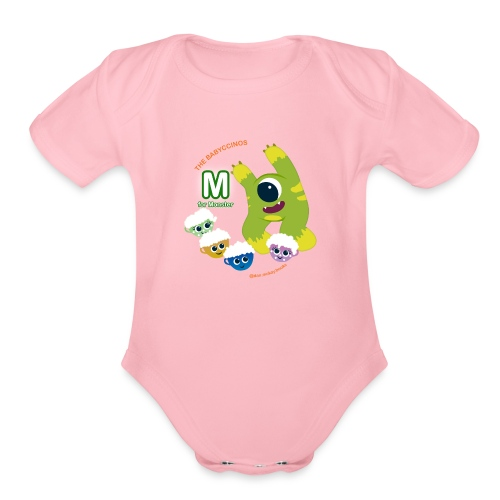 The Babyccinos M for Monster - Organic Short Sleeve Baby Bodysuit