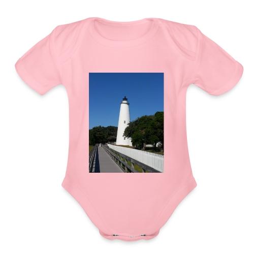 Ocracoke Lighthouse Daylight image - Organic Short Sleeve Baby Bodysuit