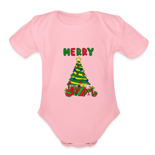 merry christmas tree instruments - Organic Short Sleeve Baby Bodysuit