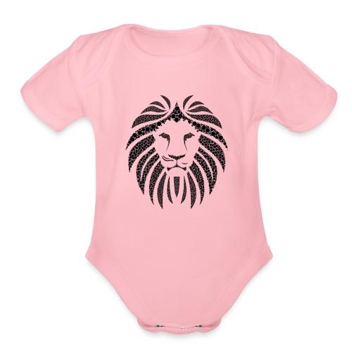 Lion head (black) - Organic Short Sleeve Baby Bodysuit