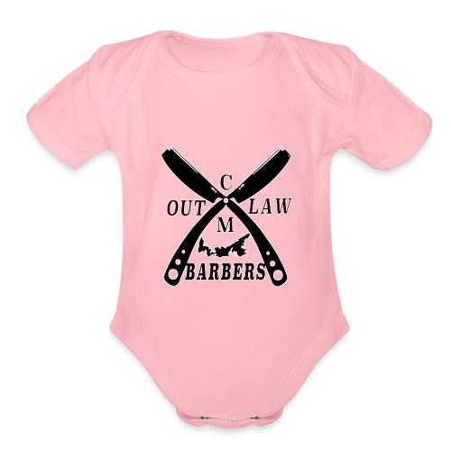 Outlaw Barbers Black Logo - Organic Short Sleeve Baby Bodysuit