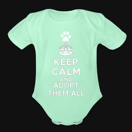 KEEP CALM2 white - Organic Short Sleeve Baby Bodysuit
