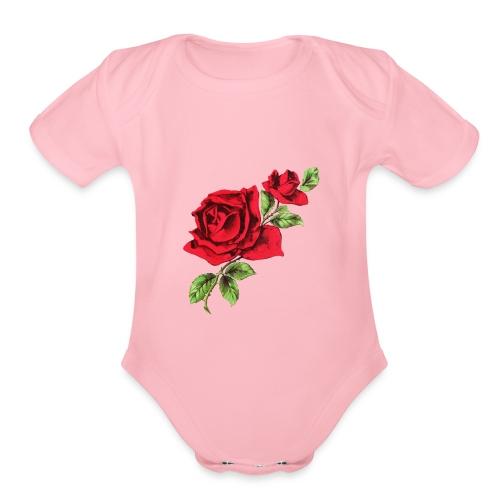 Rose and Bud - Organic Short Sleeve Baby Bodysuit