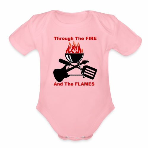 Fire and Flames BBQ - Organic Short Sleeve Baby Bodysuit