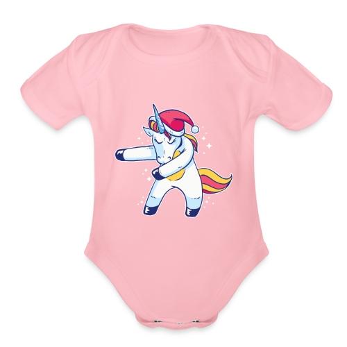Unicorn Christmas Floss Dance - Organic Short Sleeve Baby Bodysuit