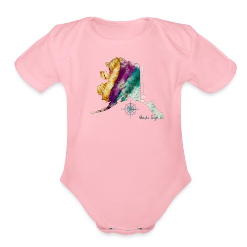 Womens Alaska Feathers Design - Organic Short Sleeve Baby Bodysuit