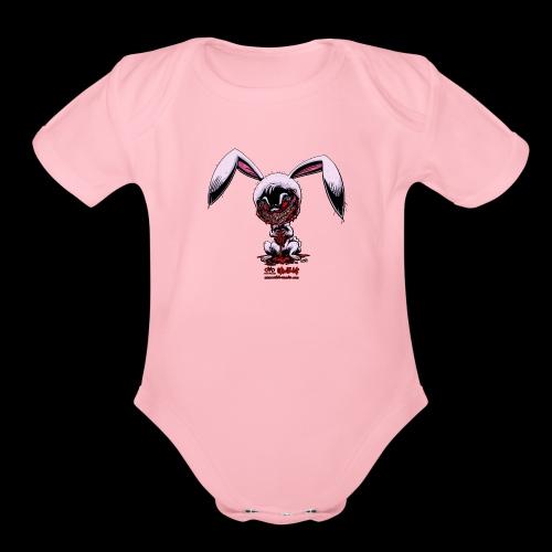Cute Creepy Bunny - Organic Short Sleeve Baby Bodysuit