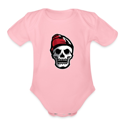 Custom Skull With Ice Cap Merch! - Organic Short Sleeve Baby Bodysuit