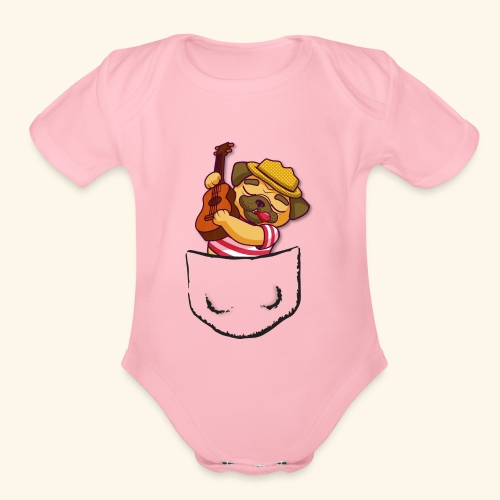 pug in pocket - Organic Short Sleeve Baby Bodysuit