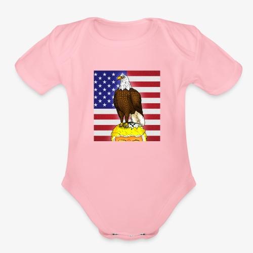 Patriotic Bald Eagle Dumps on Trump - Organic Short Sleeve Baby Bodysuit
