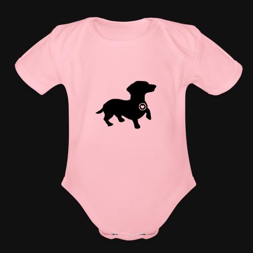 Dachshund love silhouette black - Organic Short Sleeve Baby Bodysuit