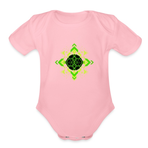 Design2_green - Organic Short Sleeve Baby Bodysuit