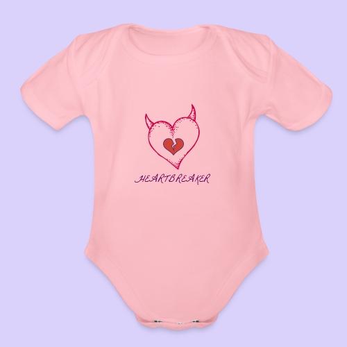 Heart Breaker - Organic Short Sleeve Baby Bodysuit