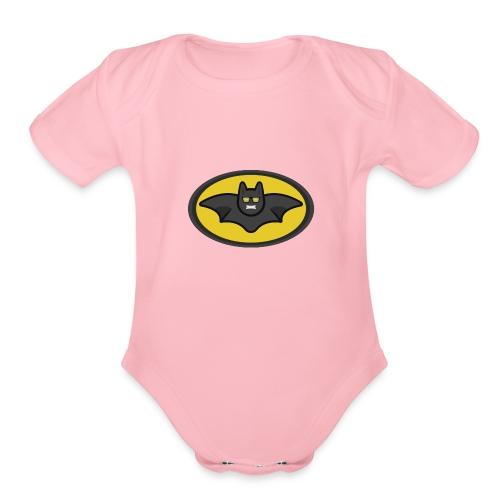 IAMBATMAN BEAM CHANNEL LOGO - Organic Short Sleeve Baby Bodysuit
