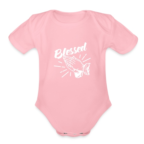 Blessed - Alt. Design (White Letters) - Organic Short Sleeve Baby Bodysuit
