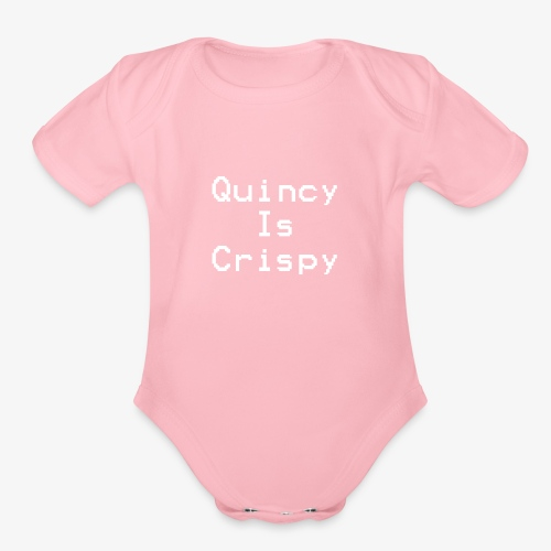 QuincyIsCrispy Text Logo (White) - Organic Short Sleeve Baby Bodysuit