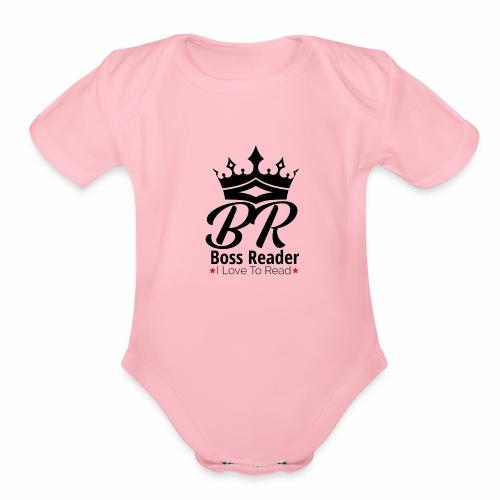 LADIES BOSSREADER CROWN - Organic Short Sleeve Baby Bodysuit