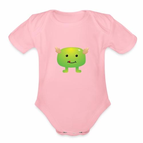 Monster Character 09 - Organic Short Sleeve Baby Bodysuit