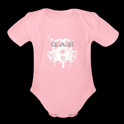 Big White Gas Mask 1 - Organic Short Sleeve Baby Bodysuit