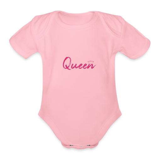 Queen text design - Organic Short Sleeve Baby Bodysuit