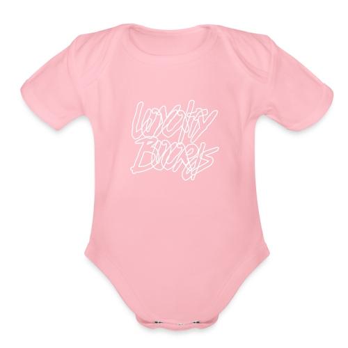 Loyalty Boards White Font - Organic Short Sleeve Baby Bodysuit