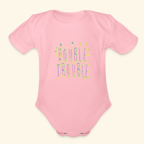 funny colorful letters design - Organic Short Sleeve Baby Bodysuit