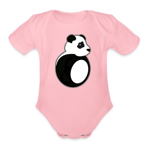 Tan Panda - Organic Short Sleeve Baby Bodysuit