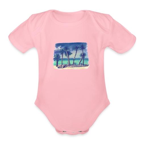 Oasis beach - Organic Short Sleeve Baby Bodysuit
