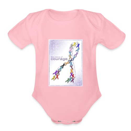 The Colors of Courage Cancer Awareness Ribbons - Organic Short Sleeve Baby Bodysuit