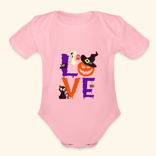 Love Halloween Funny Design - Organic Short Sleeve Baby Bodysuit