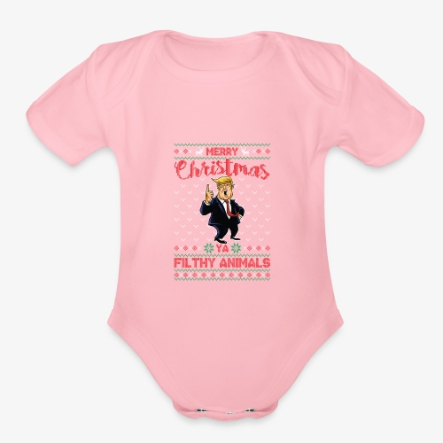MEERRY CHRISTMAS YA FILTHY ANIMALS - Organic Short Sleeve Baby Bodysuit