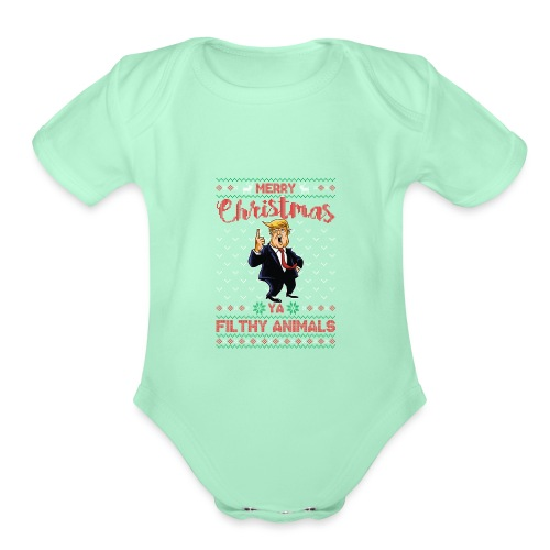 MEERRY CHRISTMAS YA FILTHY ANIMALS - Organic Short Sleeve Baby Bodysuit