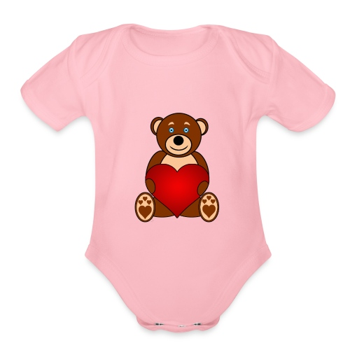 Baer - Alone or with text for figurative words - Organic Short Sleeve Baby Bodysuit