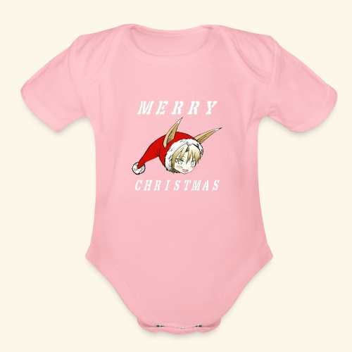 Christmas Fraulein Dog Shirt Stencil Version - Organic Short Sleeve Baby Bodysuit