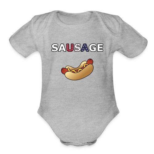 Patriotic BBQ Sausage - Organic Short Sleeve Baby Bodysuit
