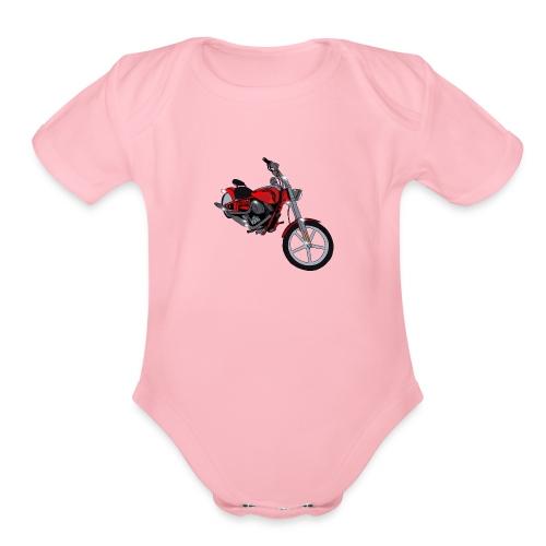 Motorcycle red - Organic Short Sleeve Baby Bodysuit