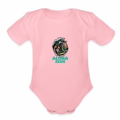 Aloha Zeus: Surfing God - Organic Short Sleeve Baby Bodysuit