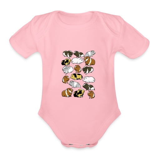 Cartoon guinea pig pattern - Organic Short Sleeve Baby Bodysuit