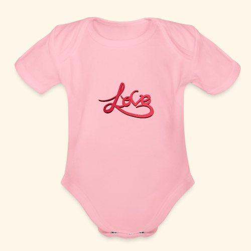Love - Organic Short Sleeve Baby Bodysuit
