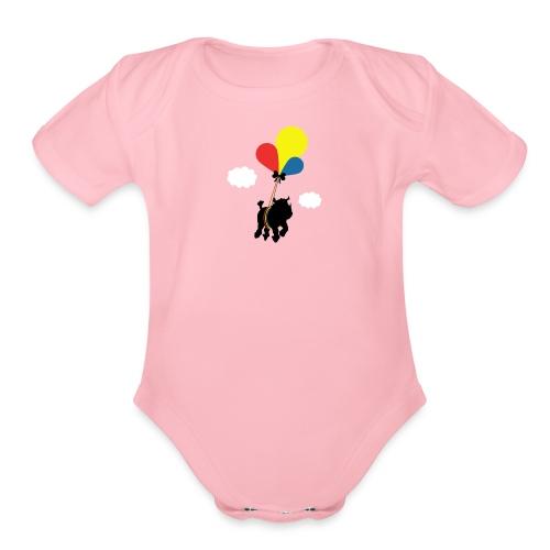 Rhinoceros in flight - Organic Short Sleeve Baby Bodysuit