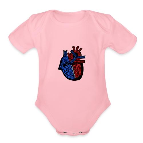 Skeleton Heart - Organic Short Sleeve Baby Bodysuit