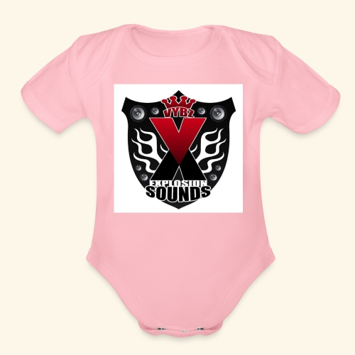 Vybz X Explosion Sounds Logo - Organic Short Sleeve Baby Bodysuit