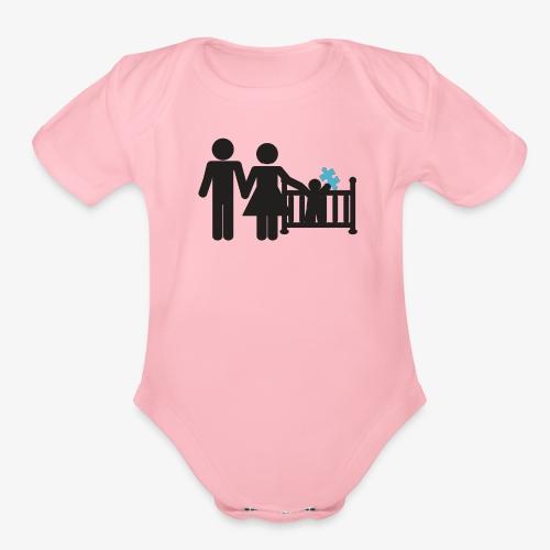 Family Autism Awareness - Organic Short Sleeve Baby Bodysuit