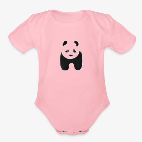 Black and White Panda - Organic Short Sleeve Baby Bodysuit