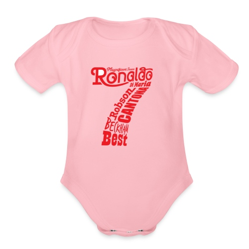 man utd magnificent sevens - Organic Short Sleeve Baby Bodysuit