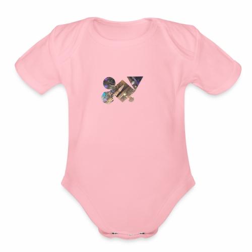 drum shapes - Organic Short Sleeve Baby Bodysuit